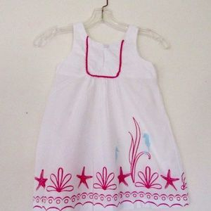 Janie and Jack Girls Summer Dress SZ 4 Seahorse